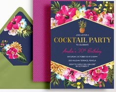 Cocktail Party Invitation Navy Pink Gold Printable Beach Pool Party 21st 30th 40th 50th Beach Party Bachelorette Pineapple Hibiscus Liner