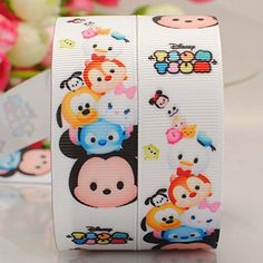 5yards 7/8'22mm White Tsum-tsum Cartoon Printed Gift Grosgrain Ribbon *** Want to know more, click on the image.