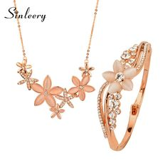 Charm Opal Flower Necklace+Bangle Sets 18K Rose Gold Plated Wedding Jewelry Set