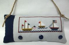 Patriotic Sailboats Cross Stitched Mini Pillow/ Nautical Hanging Pillow by luvinstitchin4u on Etsy