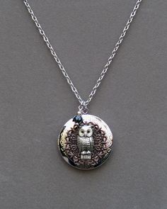 Silver Owl Locket . Nature Charm Necklace . by BlissDayDesigns