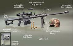 Barret .50 Cal Sniper Rifle For when it absolutely, positively has to be killed.
