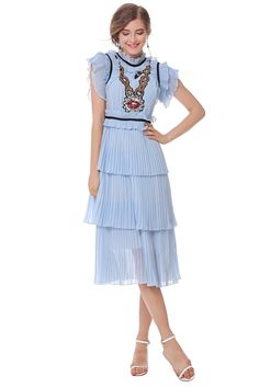 2017 Pleated Summer Chiffon Dress Women Cake Style Ruffles Sequins Lips Dresses  Blue Vestidos Verano  Verano 1b867aa6ccaa