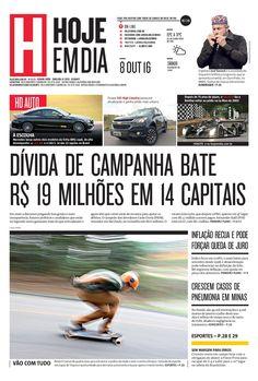 Capa do dia 08/10/2016 #HojeEmDia #Jornal #Notícias #News #Newspaper