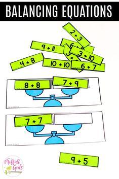 Grade Math: Addition Balancing Equations: This fun Grade Math activity helps students practice addition in a hands-on way!Balancing Equations: This fun Grade Math activity helps students practice addition in a hands-on way! Math Classroom, Kindergarten Math, Teaching Math, Second Grade Math, First Grade Math, 1st Grade Centers, Eureka Math Grade 1, Math For 1st Graders, Grade 2