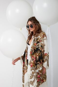 Preorder Spring Collection Light weight cotton blend Handmade - Very delicate. features a gorgeous Paisley X Rose pattern with white fringe. Spring Collection, Summer 2016, Paisley, Kimono Top, Delicate, Bohemian, Mood, Pattern, Cotton