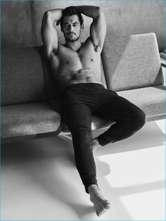 David Gandy lounges in leisure pants from his new Marks & Spencer Autograph line.
