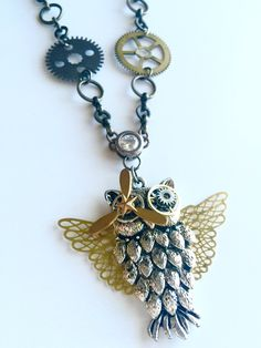 Lollipop Lane Jewelry - Hedwig Steampunk Necklace. Victorian-inspired Steampunk owl necklace. Remember Hedwig from Harry Potter? We're just a little obsessed! Additional parts include real watch gears and components, as well as an owl, propeller, wings, and star. OOAK (one of a kind) piece!