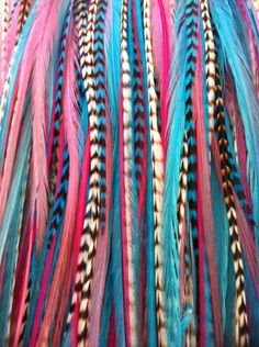 "Sexy Sparkles 8""-12"" Gorgeous Light Pink Grizzly ,Turqoise,blue, White  Origianl Grizzly Feather for Hair Extension-5 Feathers"