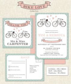 Downloadable Bike Love Wedding Stationery set including invitation, RSVP and Thank you card.