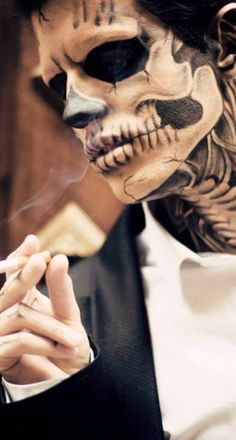 Man, skeleton, tattoo, black&grey, smoking, model, photo, hot, cool