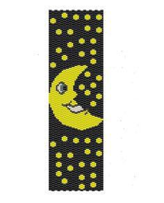 Moon Peyote Pattern yellow and black peyote cuff by BeadingWonders