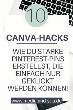 Du wünschst dir für dein Business klickstarke & unverwechselbare Pins auf Pinterest, die einfach nur durch die Decke gehen und absolute Eyecatcher sind? Hier erfährst du, welche Hacks & Tricks du bei deinen Pins im Canva - Grafikprogramm anwenden musst, damit sie zu absoluten Hinguckern im Feed werden. Erstelle ganz leicht eindrucksstarke Pins mit wenigen Handgriffen. Spare Zeit und Geld, indem du deine Grafik im handumdrehen selbst designst. Jetzt direkt loslegen! #mediaandyou