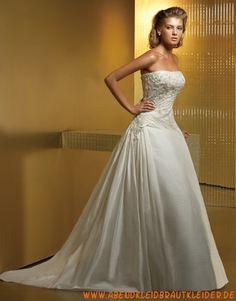 Schöne A-line trägerlose Hochzeitskleider aus Taft mit Applikation
