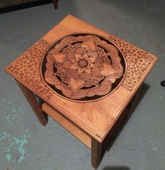 Wood Burned, sanded, stained, and varnished. Mandala table.