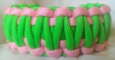 Paracord Bracelet Skater Girl Inspired Pink Neon Green King Cobra