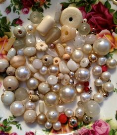 Vintage white bead mix   mixed lot  drw15 by pinksupply on Etsy, $4.55