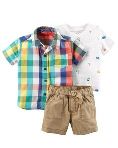 He'll love this layered look, complete with a plaid button front over a slub jersey tee and paired with khaki shorts. Add a pair of slip-on sneakers for extra cool style.