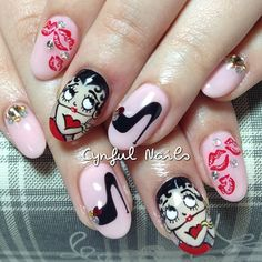 .@cynfulnails | Sexy lips and Betty Boop! All hand painted. :) #cutenails #sgnails #manicure ... | Webstagram