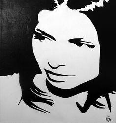 Portræt stencil i sort og hvid - kan bruges til almindelig stencilling eller andre former for kunst - grafitti - airbrush på lærred.