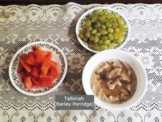 #Barley #Breakfast Idea - Talbinah (#Barley Porridge with Papaya and Grapes)  Recipe: 2 tbsp roasted and ground hulled barley heated -> heat with 1 cup milk -> 2 to 3 mins -> add honey  #BaytRummanHomeschool #homeschooling #health #chronicdisease