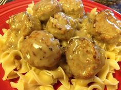 Tasty and (Mostly) Healthy Recipes: Easy Crock-Pot Meatballs and Gravy over Noodles