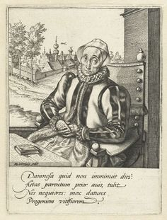 Hendrick Goltzius | Portret van Anna Fullings, moeder van de kunstenaar, Hendrick Goltzius, 1581 - 1585 | Een oude vrouw, met een linnen kapje op het hoofd, zittend achter een tafel waarop een boekje ligt. Op de achtergrond links een burcht of stadje. Vier regels Latijn in marge onder de prent.