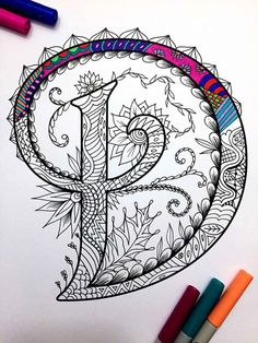 Letter D Zentangle Inspired by the font Harrington by DJPenscript