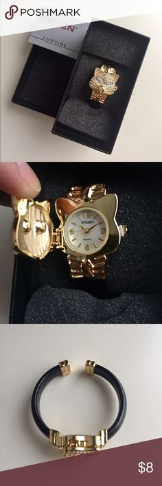 🌹NIB Rhinestone Cat Watch New in box. Gold plated rhinestone watch with black bangle band. Offers on bundles considered. No trades. Gruen Accessories Watches