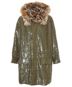 So over the top, but so awesome. Ashish sequin embellished parka with leopard print faux fur lining and oversized fit.