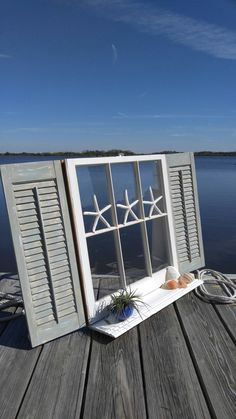 old painted window,window and shutters,SOLD Shabby Chic window,repurposed window… Window Shutters Decor, Window Pane Art, Shutter Decor, Diy Shutters, Bedroom Shutters, Old Window Decor, Window Frames, Old Window Projects, Shutter Projects