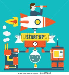 Vector concept of business start up and optimization. Business management - vector illustration - stock vector