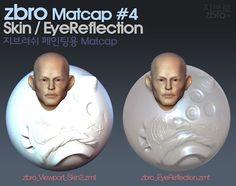 zbro matcap #4 Viewport skin02 / EyeReflection01  #ZBrush Custom Matcap