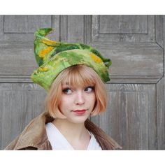 Unique fancy felted hat designer hat, unusual woman hat, sculptural... (€83) ❤ liked on Polyvore featuring accessories, hats, leaf hat, fancy hats, dressy hats and green hat