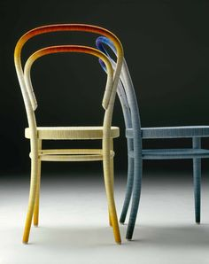 Tokyo designer Keisuke Fujiwara has wrapped bentwood chairs by German furniture brand Thonet in twelve kilometres of coloured thread. Called Spool Chair, the project features twelve different coloured threads. Fujiwara created one version in warm colours (called Fire) and a second in cool hues (called Water). See also: Walking stick wrapped in thread by Dominic …