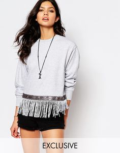 Milk+It+Vintage+Cropped+Sweatshirt+With+Fringing