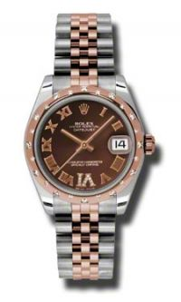 Rolex Datejust Chocolate Dial Automatic Steel and 18kt Rose Gold Ladies Watch