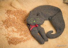 Bouillotte micro-ondes tour de cou chat céréales