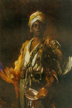 George Seymour - The Arabian Hunter, oil 30 x 46 inches (1876 - 1916)
