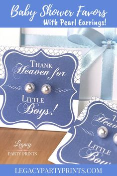 Heaven Sent Boy Baby Shower Favors With White Pearl Earrings Birthday Party Boy Baby Shower Themes, Unique Baby Shower, Baby Boy Shower, Baby Shower Decorations, Gift From Heaven, Heaven Sent, Bridal Shower Favors, Baby Shower Invitations, Unique Party Favors