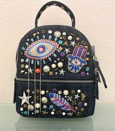 Steve Madden Hamsa Evil Eye Denim Mini Backpack
