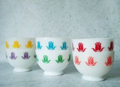 vintage tulip dishes | Set of Fire King Sealtest Cottage Cheese Bowls - Vintage Tulip ...