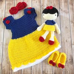 Excited to share this item from my shop: Princess Snow White Inspired Costume and Matching Doll/Baby Shower Gift Set/Princess Photo Prop Newborn to 24 Months- MADE TO ORDER Crochet Baby Costumes, Crochet Baby Clothes, Princess Photo, Baby Princess, Crochet Princess, Crochet Disney, Yarn Sizes, Princess Costumes, Baby Sweaters
