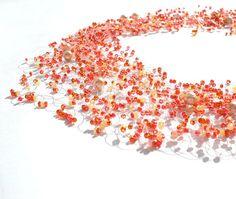 $49  Orange Necklace Wedding Necklace with Beige by LikeinaFairyTale