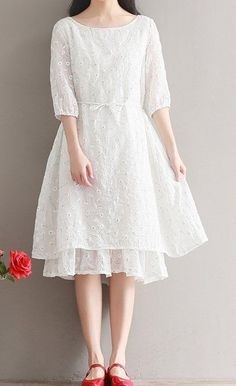 Women loose fitting over plus size flower white skater dress midi tunic chic #Unbranded #dress #Casual