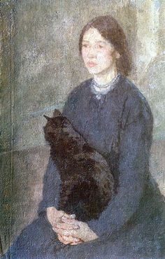 """""""Young Woman Holding a Black Cat"""" by Gwen John, sister of Augustus John. Gwen began painting before John and was already an established artist when he began his career."""