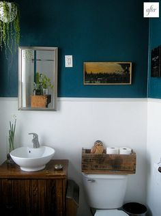 The color contrast in this bathroom is great!  I also really like the toilet paper roll holder.