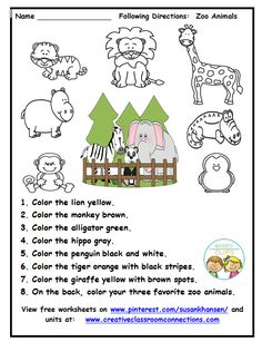 This zoo worksheet provides practice for students to read and follow directions. Other primary worksheets and units are available at www.creativeclassroomconnectons.com.