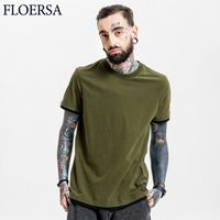 FLOERSA Basic T-Shirt Men Solid Cotton O-neck Slim Fit Male Fashion T Shirts Short Sleeve Top Tees Large Size #FL60145