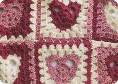 heart granny square blanket